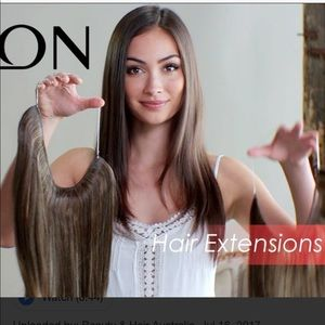 Invisible crown extensions dark brown 18""